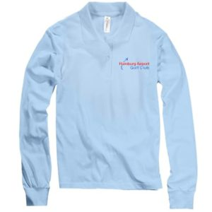 Frauen Polo-Hemd Langarm, hellblau